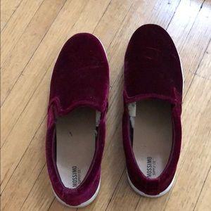 Burgundy velvet slip on sneakers